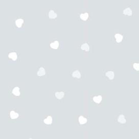 Srdiečka biele na sivom