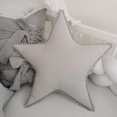 Vankúš Hviezda bavlnená s čipkou