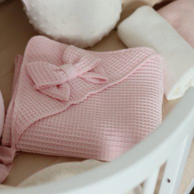 Detská osuška s kapucňou a mašličkou – rôzne farby