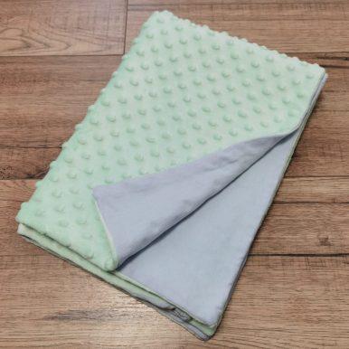 Detská deka – minky mintová + modrá bavlna – SKLADOM