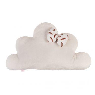 Vankúš Oblak plyš s mušelínovou mašlou