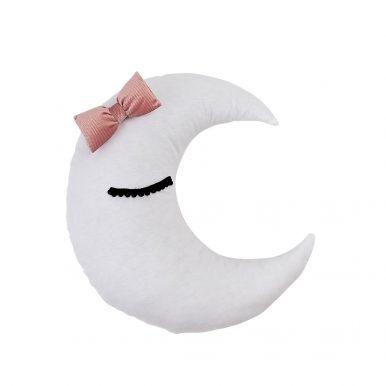 Vankúš Mesiac velvet s mašličkou a očkami
