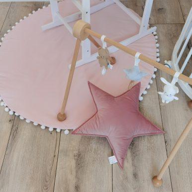 Hrací koberec jednofarebný s guličkami Ø120 cm