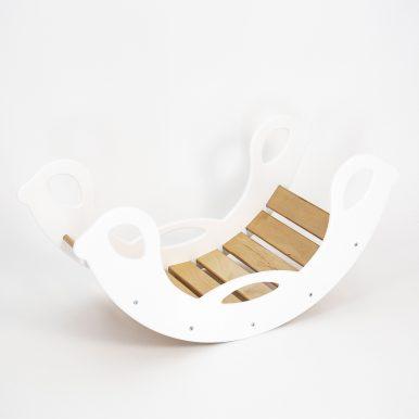 Drevená montessori hojdačka SwingMe – biela/prírodné drevo